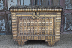 Antique Brass Plated Dowry Chest, Gujarat